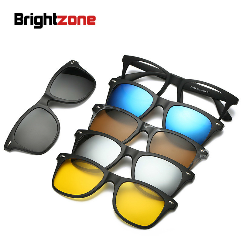 Brightzone New <font><b>5</b></font> <font><b>In</b></font> <font><b>1</b></font> Round Polarized <font><b>Sunglasses</b></font> Women Brand Designer <font><b>Men</b></font> <font><b>Magnetic</b></font> <font><b>Clip</b></font> <font><b>On</b></font> Glasses Lens Luxury Hippie Oversize image
