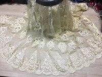 Excellente mariage dentelle embrodiery Français net dentelle tissu avec perles pour élégante robe VRN39 (5 yards/lot)