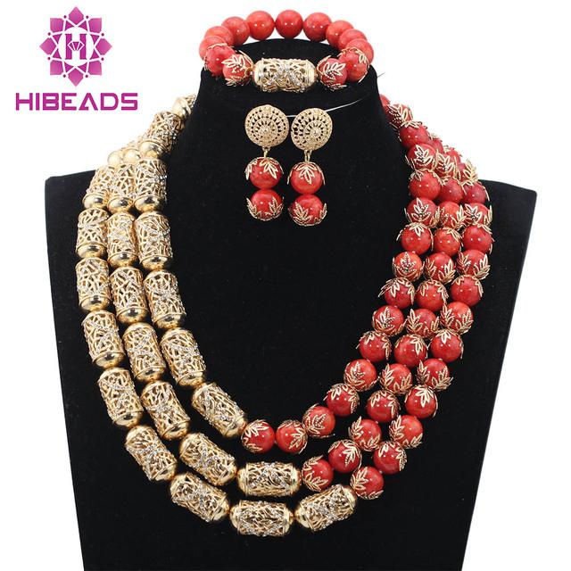 Increíble Coral Perlas de la Boda Africana Sistema de La Joyería de Dubai Chapado En Oro Nupcial Joyería de la India 2017 Nuevo Envío Libre CNR755