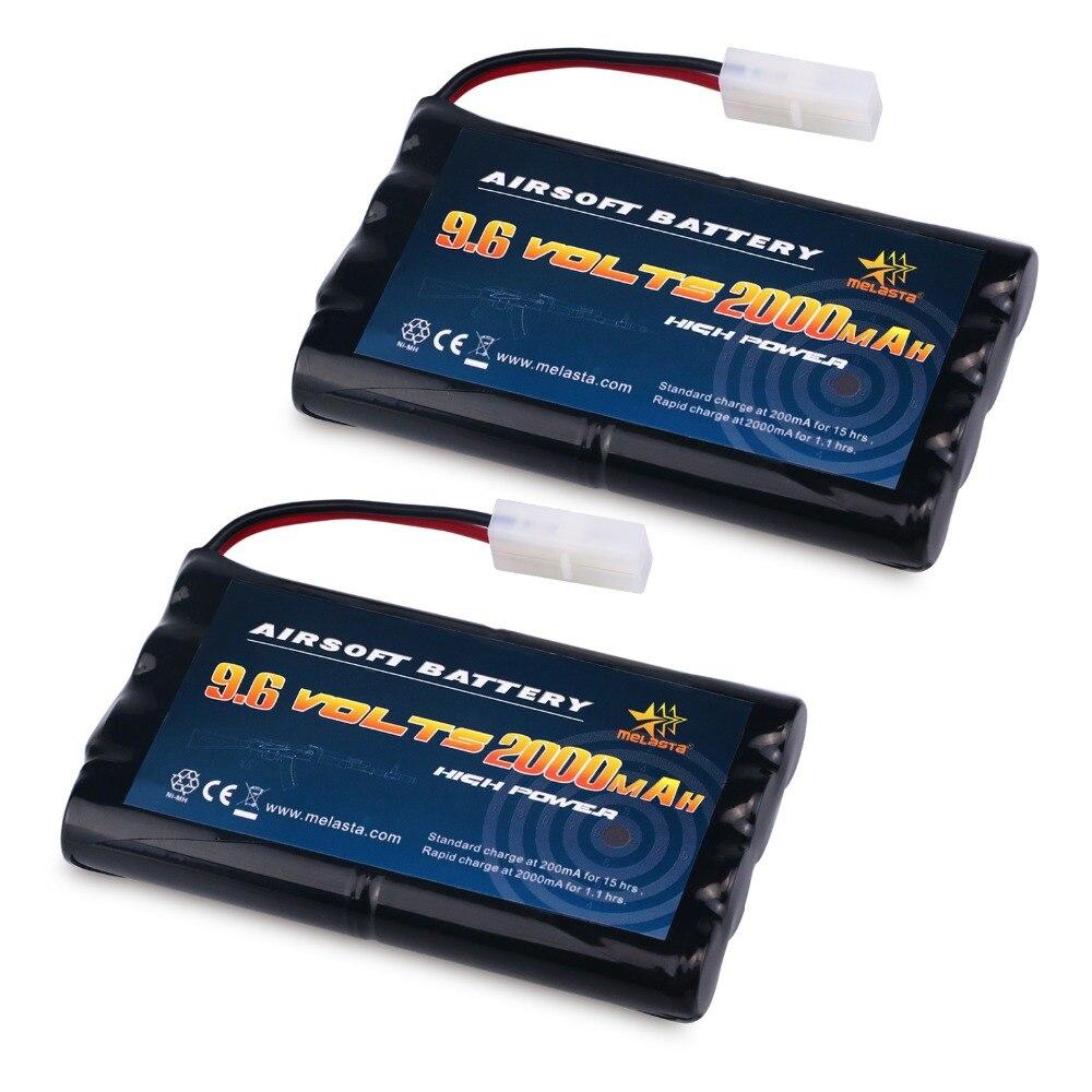Melasta 2 pcs 9.6 V 2000 mAh NiMH Haute Capacité Batterie pour RC Voitures, bateaux, Robots, RC Gadgets Airsoft batterie, Sécurité