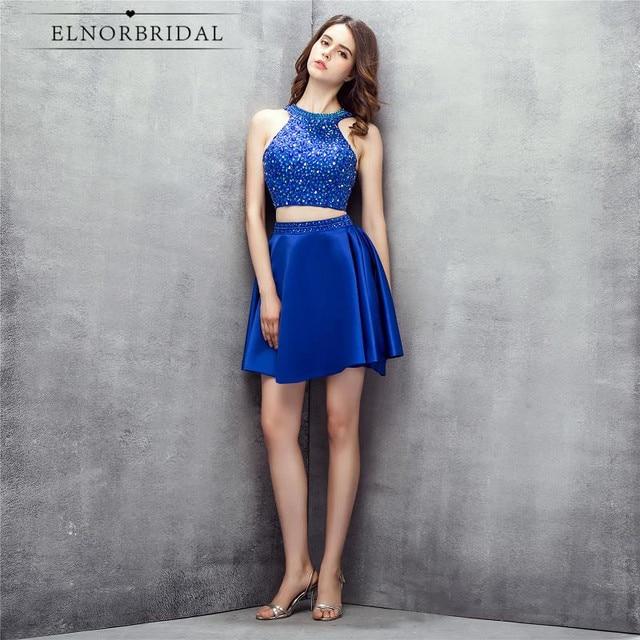 13201cfd0 Azul Royal Vestidos Cocktail 2018 Vestido De Festa Curto De Luxo 2 Peça  Vestido de Baile