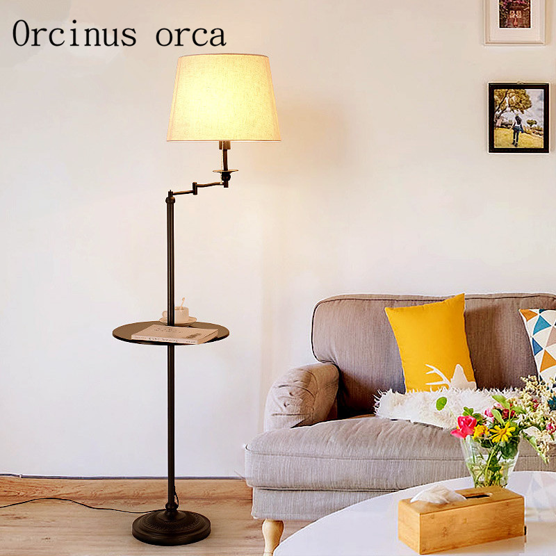 Floor lamp simple living room shelf lamp Nordic study bedroom creative vertical lamp floor lamp ...