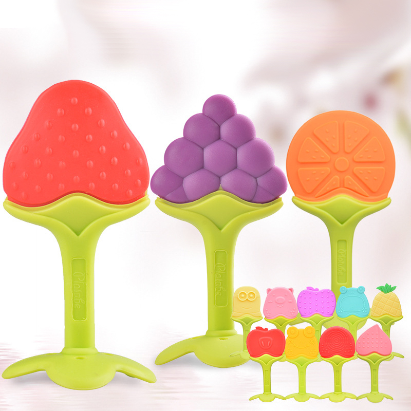 Food Grade Silicone Teethers Fruit Animal Infant Baby Silicone Chew Charms Stick Kids Teething Gift Toddler Toys