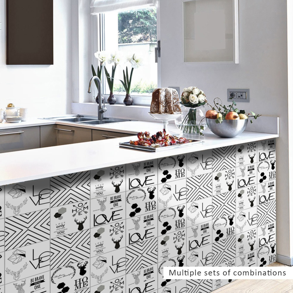 Funlife Bathroom Decor Nordic Element Tile stickers Wall Decals Home ...