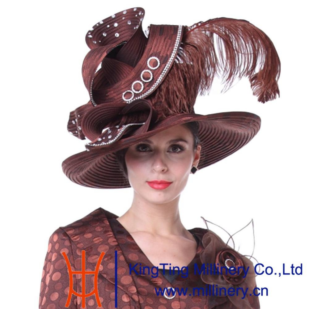 Kueeni Women Church Hats Couture Mother Of Bride Wedding High Le Wide Brim Feather Decorate Elegant Lady Party Hat In Fedoras From S