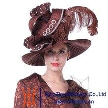 Kueeni Mujeres Couture Sombreros Sombreros de La Iglesia Madre de La Novia de La Boda sombreros de Alta Noble Decorar Pluma de Ala Ancha Elegante de Señora Party sombrero