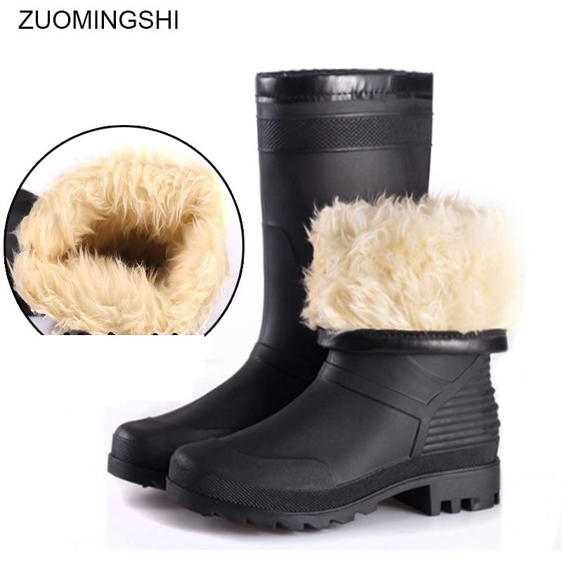 Winter Snow Boots Men Black Rain Boots Waterproof Anti-skid Wear-resistant Plush  Fishing Boots Plush