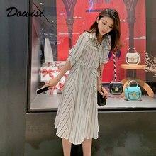 Dowisi summer dress women striped a-line dresses polo collar fashion robe femme white black vestidos verano 2019