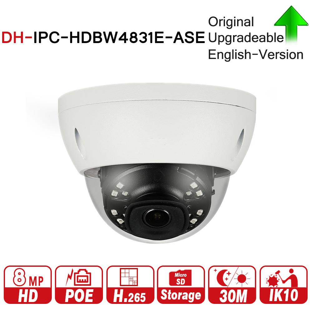 DH IPC-HDBW4831E-ASE 8MP Mini Dome Network IP Camera Smart Detect Alarm Audio in/out 30m IR Micro SD H.265 WDR IP67 IK10 PoE dh h 265 1080p ip camera ipc hfw4231t ase starlight wdr ir mini bullet network camera with audio ip67 ik10 outdoor ip camera