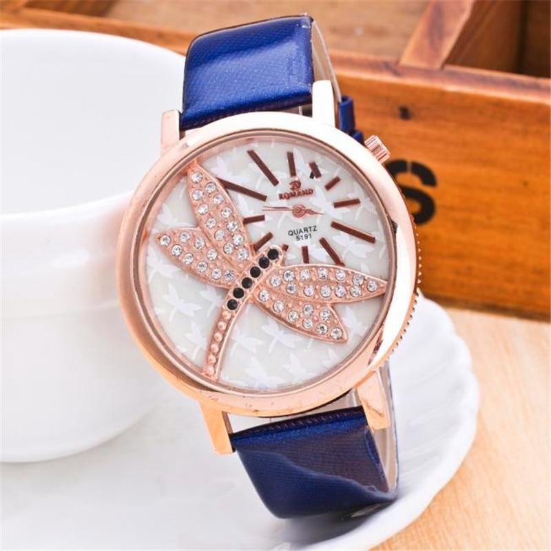 d62c98c02 Mulheres watchessale Moda Feminina Libélula B Strass Relógio de Pulso de  Couro Relógio De Quartzo Analógico relogio Reloj Mujer P * 21