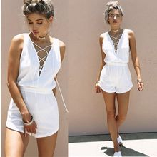 2018 Women Beach V Neck Bodycon Playsuit Lace Up White V Neck Shorts Romper Jumpsuit Playsuit Clubwear Combination Overalls yellow folk v neck convertible playsuit