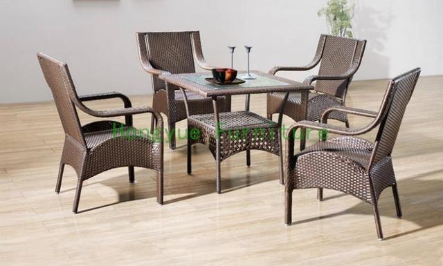 brown pe rattan dining room furniture