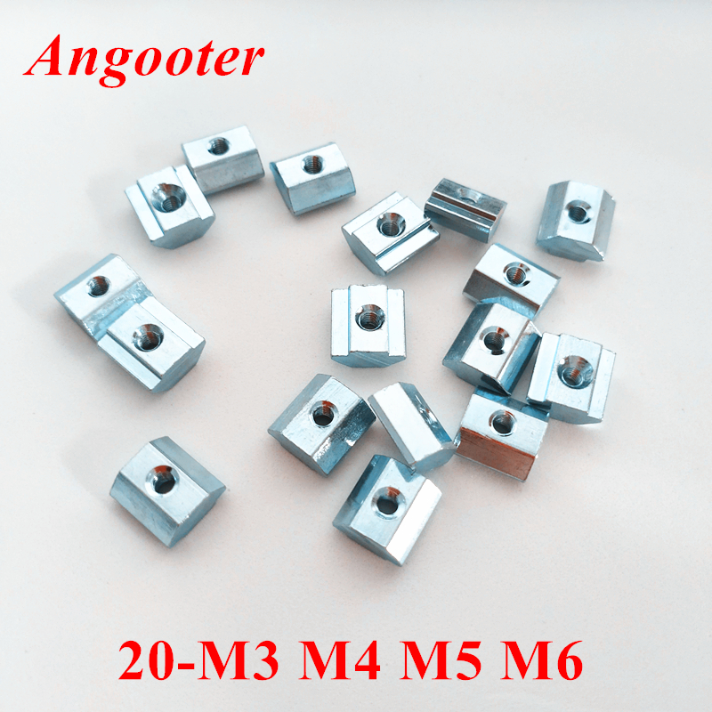 Eowpower 100Pcs 20 Series M4 Pre-Assembly T Slot Nuts for 2020 Aluminum Extrusion