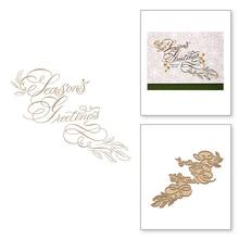Seasons Greetings HOT FOIL PLATE Silver Metal Cutting Dies DIY Photo Embossing Die Scrapbooking Stencils Hot Stamping Foil