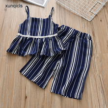Xunqicls Summer Girls Clothes Set 2018 New Striped Childrens Sling Shirt Top +Wide Leg Pants Baby Outsuits 3-8Y