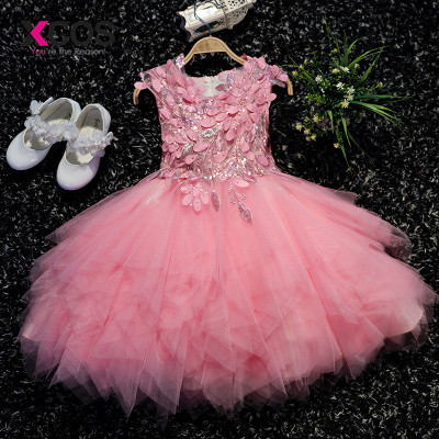 XCOS 2018 Hot Sale Cheap   Flower     Girl     Dresses   with Shinny Sequined Communication   Dress   For Wedding Party   Dress   vestido daminha