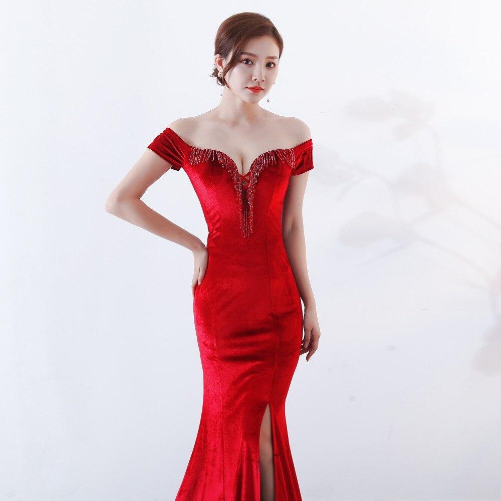Women Elegant Sexy Appliques Velvet Wine Red Off Shoulder V-Neck Long Mermaid Slim Slit Club Party Dress Vestidos (4)