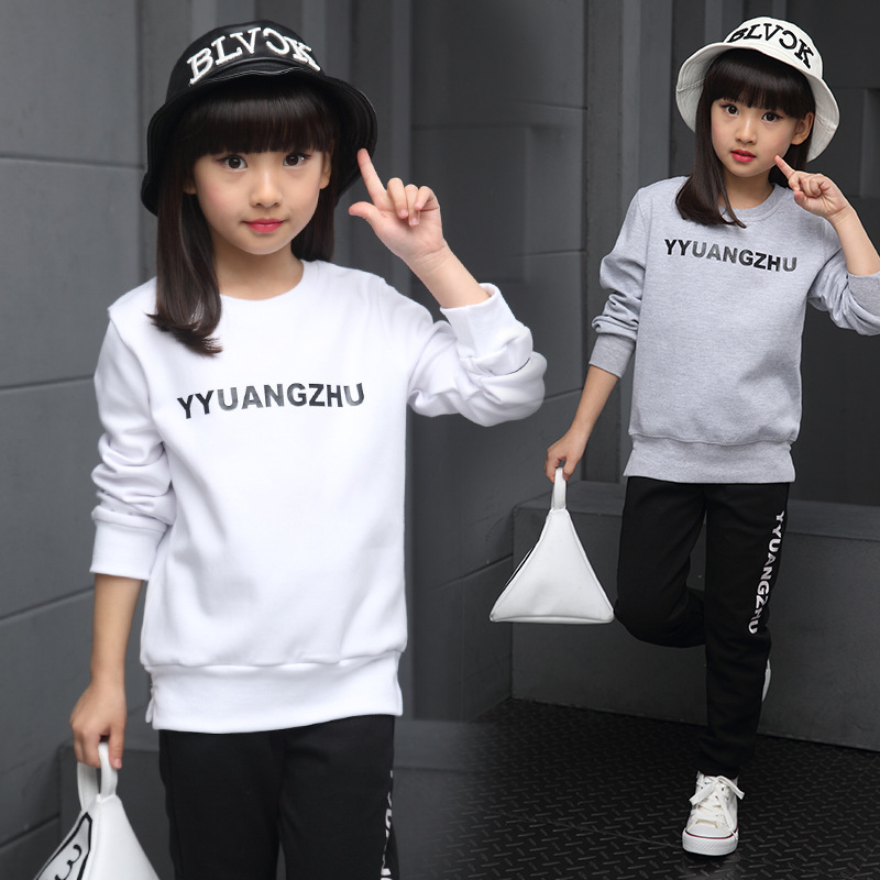 ФОТО kids girls spring / autumn 2 pcs suit 2017 new baby girls' clothing fashion leisure letters suits 4/5/6/7/8/9/10/11/12 years