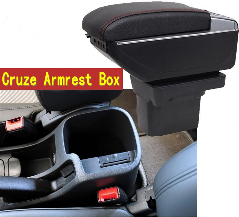 For Cruze armrest box central Store content Storage box Chevrolet armrest box with cup holder ashtray