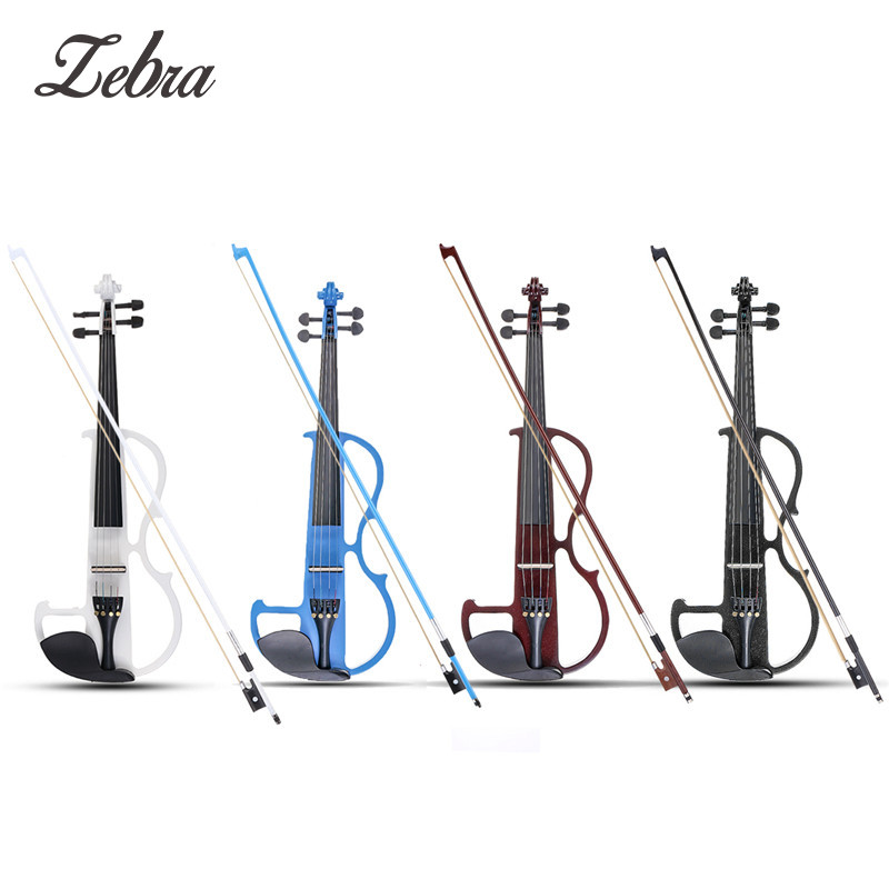 Zebra 4/4 Acoustic Violin Basswood Panel Stringed Instruments Fiddle With Violin Case Bow Head Phone Aluminum Alloy Strings brand new handmade colorful electric acoustic violin violino 4 4 violin bow case perfect sound