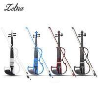 Zebra 4/4 Acoustic Violin Basswood Panel Stringed Instruments Fiddle With Violin Case Bow Head Phone Aluminum Alloy Strings