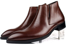 Мода коричневый загар/черный мужские свадебные туфли ботильоны из натуральной кожи мужские ботинки платья 2017 офис обувь, защитная обувь