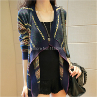 2014 Fashion Womens Ladies Clothes Long Sleeve Striped Cardigans Temperament Coats Jacket Sweater Size S M