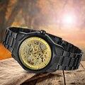 Gewinner Herrenuhr Marke Wasserdichte Armbanduhr Skeleton Autoamtic Edelstahl Armband WRG8033M4B6 mit Geschenk box-in Mechanische Uhren aus Uhren bei