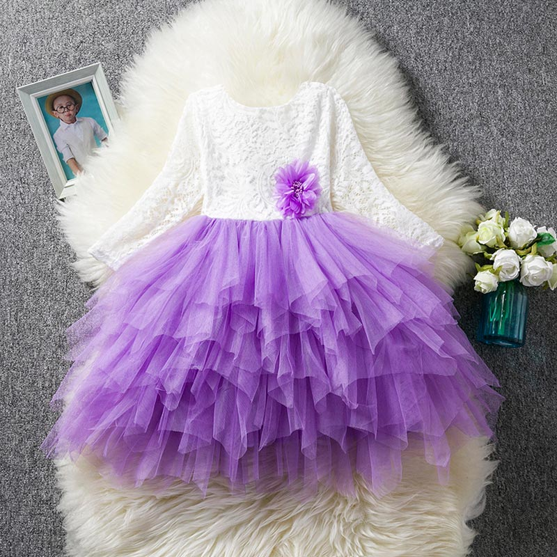 HTB1vuwraoLrK1Rjy1zbq6AenFXaN Children Formal Clothes Kids Fluffy Cake Smash Dress Girls Clothes For Christmas Halloween Birthday Costume Tutu Lace Outfits 8T