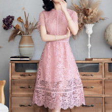 Lace Dress Woman Summer 2019 New Fashion Solid Color Hollow Out Round Neck Short Sleeves Slim A-Line Dress Over The Knees S-XL ladylike style solid color scoop neck lace long sleeves slimming burnt out dress for women