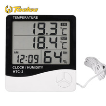 Digital Thermometer Hygrometer HTC-2 Digital LCD In/Out Electronic Temperature Humidity Meter Indoor Outdoor Alarm Clock цена