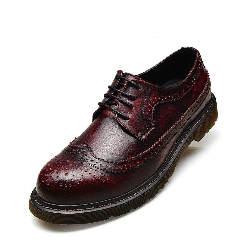 Hombre up Red Mocassins blue Lace Marca Para Brogue De Casuais Homens Couro wine Homem Mens Sapatos Genuíno Black brown Oxford Zapatos YgRFOnZ