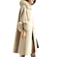 Большой меховой зимняя куртка утепленная парка женщин сшивание Свободные длинное зимнее пальто хлопок дамы вниз парка Теплая Куртка женск...