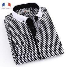 Langmeng New Arrival Men's Cotton Formal Shirt Long Sleeve Casual Shirts Men Dress Shirt Brand Clothing Male Shirts Black White