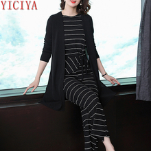 Striped Winter Black 3 piece suit women tracksuits 2 set outfits co-ord pants suits and top plus size autumn clothes