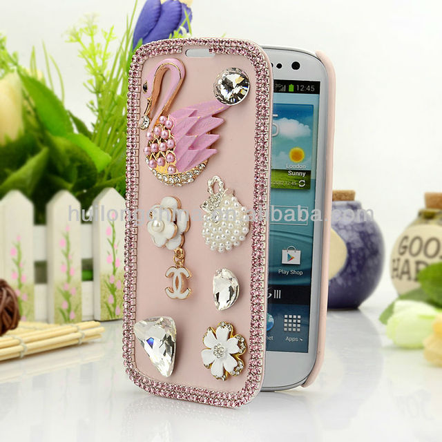 2013 hot sell new style with fashion free bird personality beautiful lady rhinestone fold case for samsung galaxy