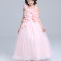 Pink Long Formal Girl Dress Christmas Kids Party Costume For 10 12 14 Year Old 2019 Girls Clothes AKF164115