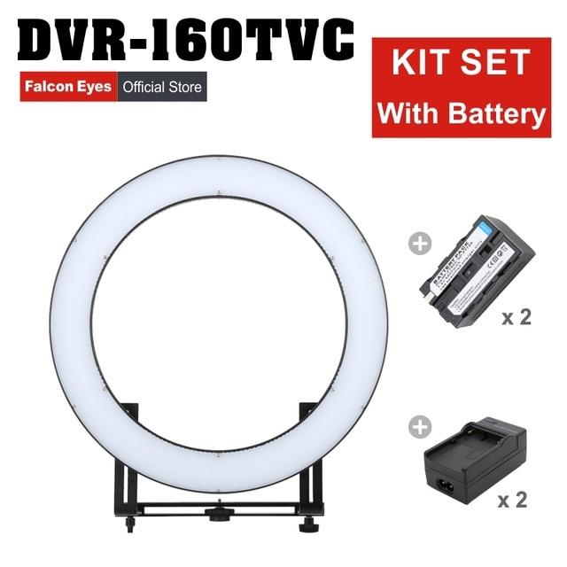 Falcon Eyes 32 W 160 anneau LED panneau 3000-5600 K Dimmable Photo vidéo Film Studio photographie lumière continue DVR-160TVC kit CD50