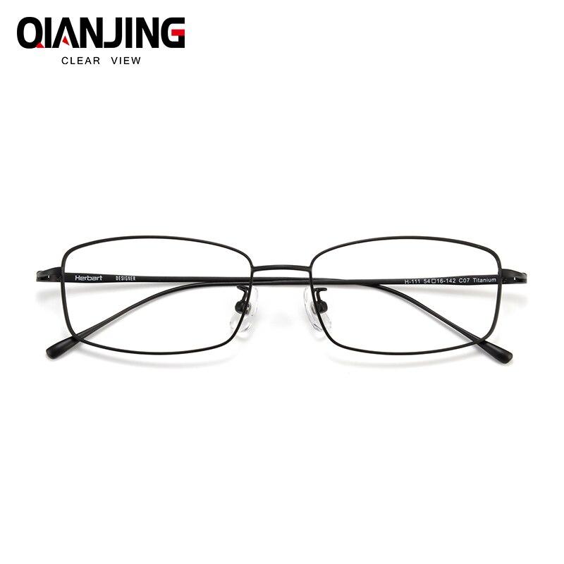 QianJing ultraléger carré pleine jante pur titane lunettes cadre pour hommes optique lunettes cadre Prescription lunettes