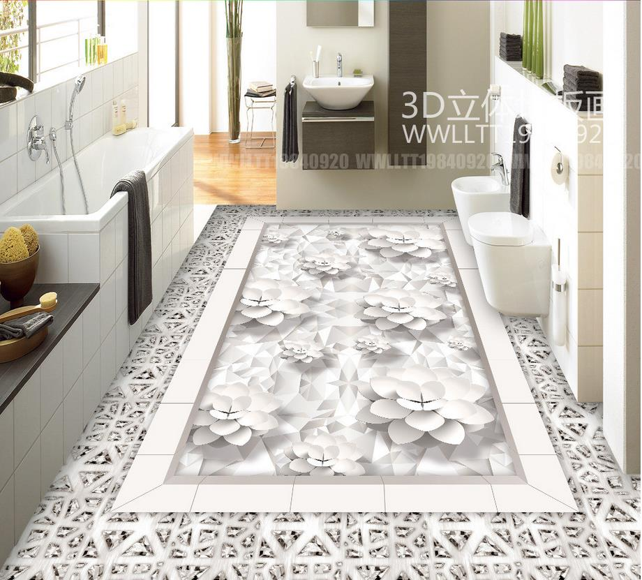 3d flooring Modern fashion diamond lotus club hall 3D floor pvc floor wallpaper 3d floor painting wallpaper free shipping 3d carp lotus pond lotus flooring painting tea house study self adhesive floor wallpaper mural