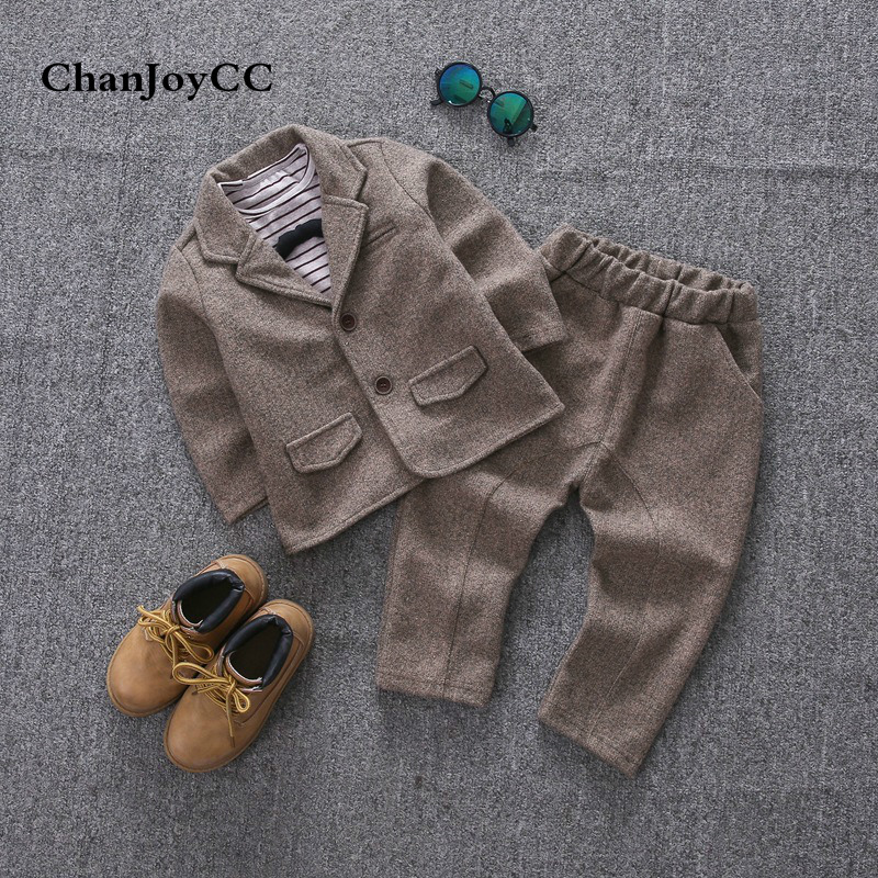 Children Boys Suit Spring Autumn Hot Sale Kids Fashion Gentleman Solid Coat + Shirt + Pant Three-piece Cottton Set hot style three points children quilted loose coat