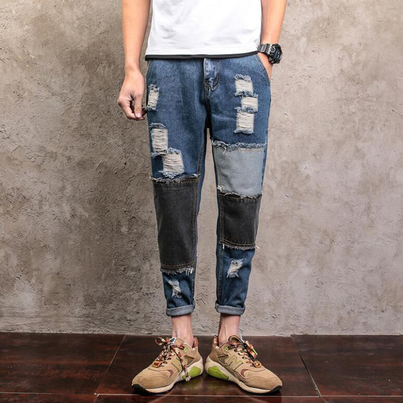 ФОТО SexeMara American Style  cotton men jeans luxury Men's casual denim trousers hole zipper Slim blue for