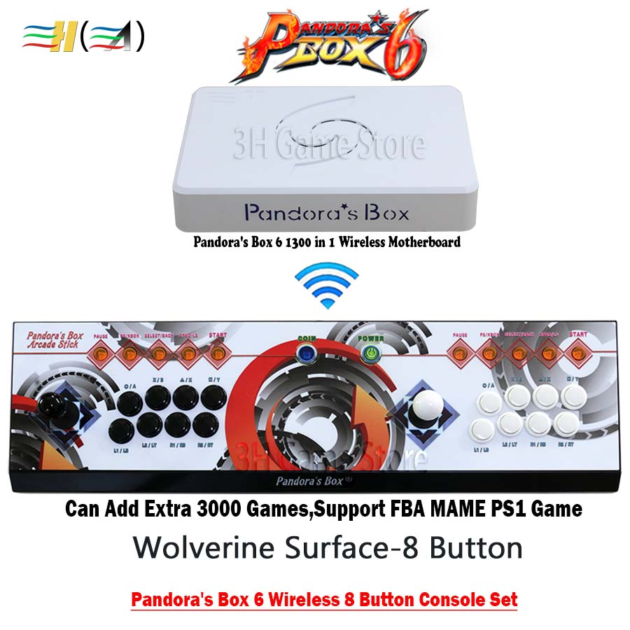 Pandora box 6 1300 in 1 wireless 8 button arcade game joystick 2 players iron console can add 3000 games support 3d fba mame ps1