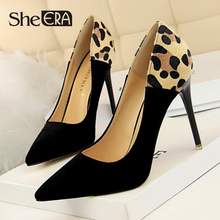 New Fashion Women High Heels Leopard Print Shallow Thin Heels Women High-heeled Shoes Classic Flock Women Shoes She ERA new fashion women high heels concise shallow thin heels women high heeled shoes classic party women shoes she era
