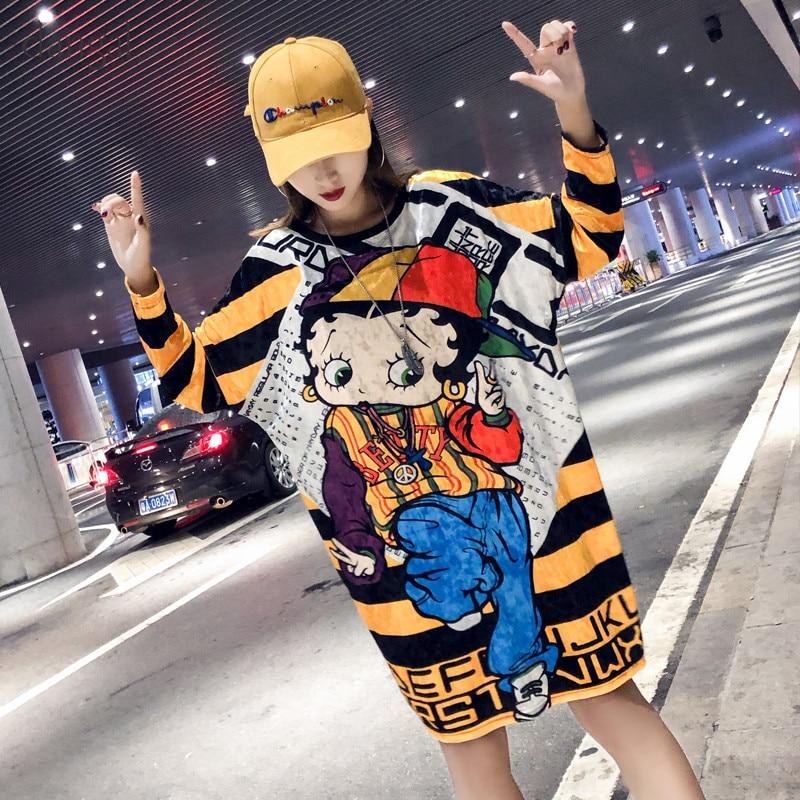 New Dangal Fashion Cute Cartoon Long Sleeve Women T-Shirt Pleuche O-Neck Cute Mikey Tops Long Cartoon T-Shirts For Girl 2018