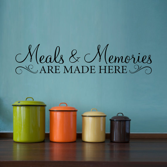 Meals & Memories Wall Decal Kitchen Quote Stickers and are made here Sticker Decor 720Q-B