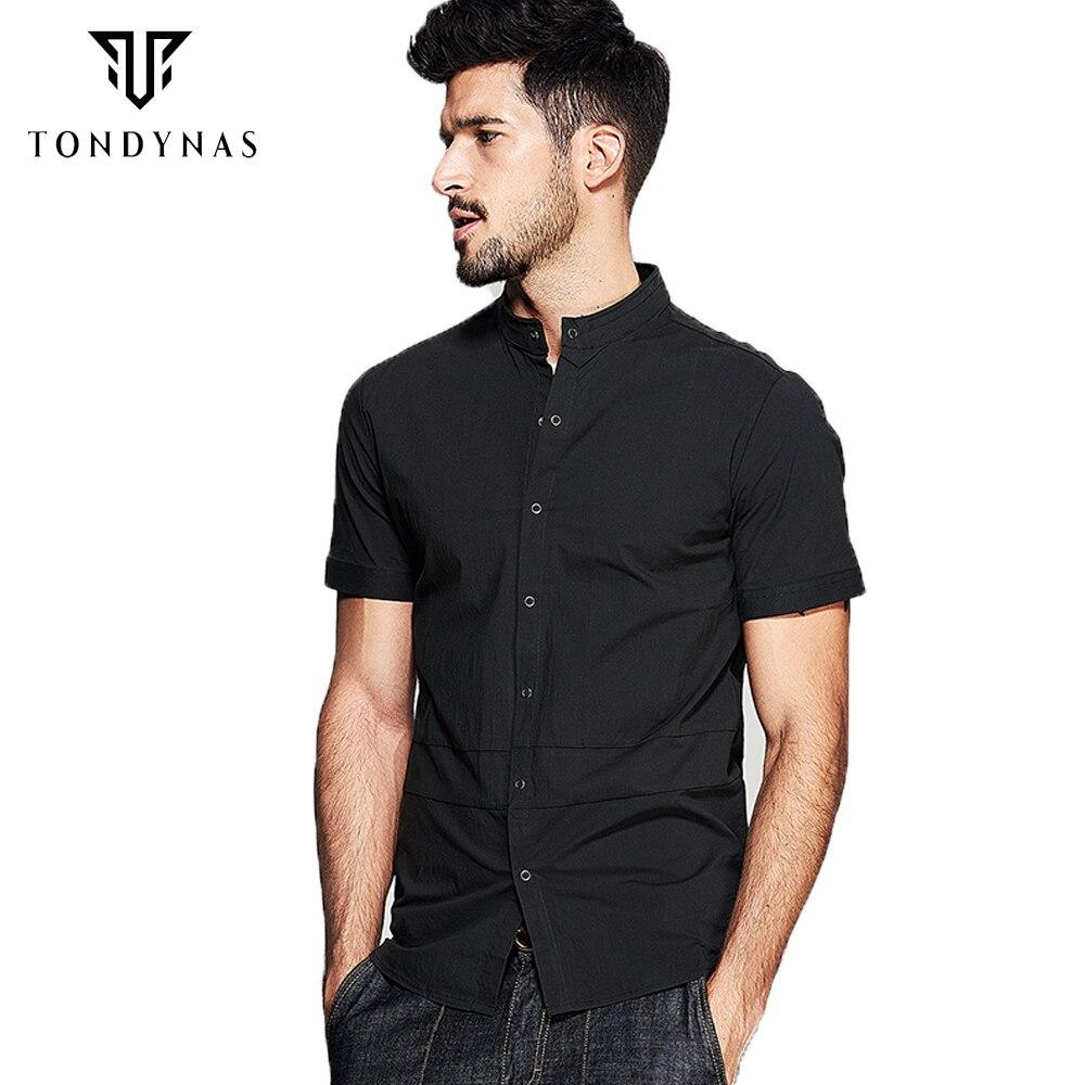 TONDYNAS Man short sleeve black shirt,male cotton mandarin collar ...