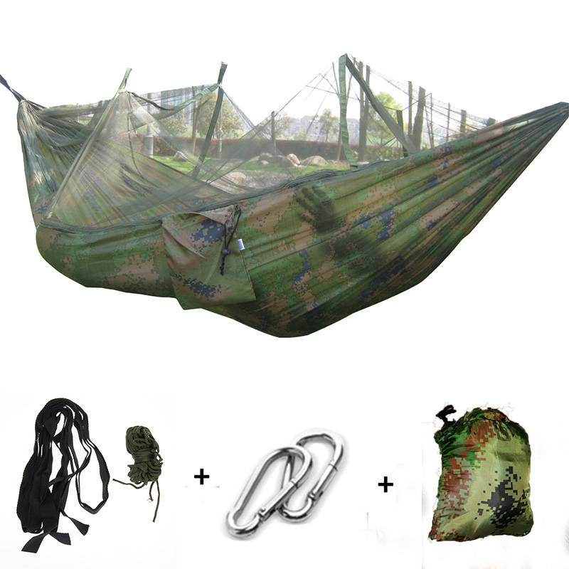 Outdoor Camping Hammock Mosquito Net Portable Travel Garden Swing Canvas Stripe Hang Bed Hammock 260*130cm