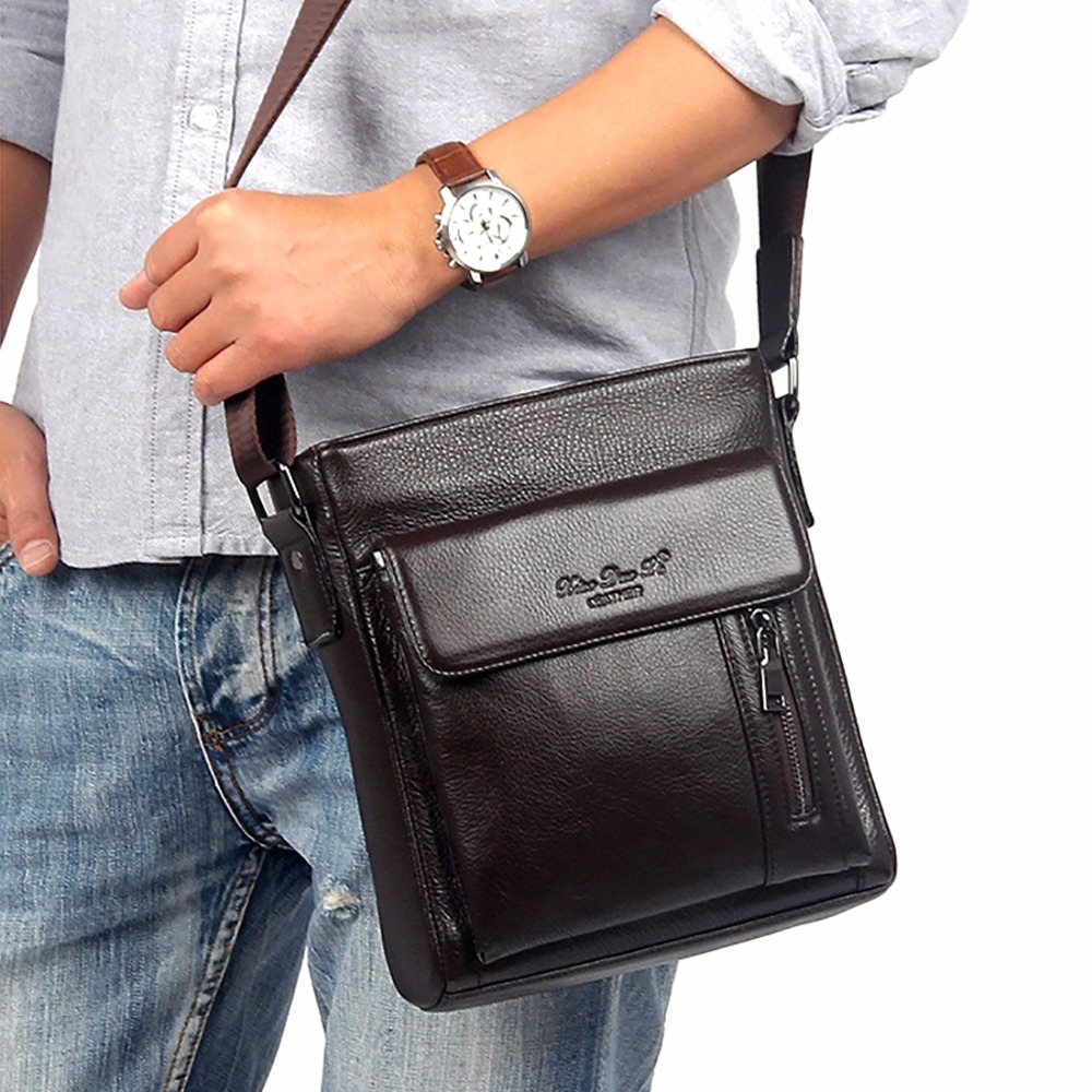 New Genuine Leather Cowhide Men Business Satchel Famous Brand Fashion Male Cross Body Bags Luxury Messenger Single Shoulder Bag