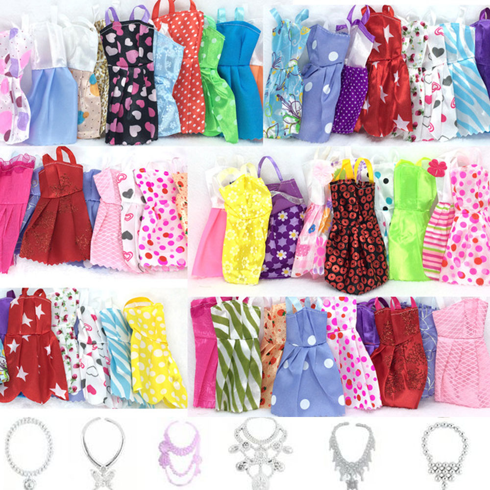все цены на NK 16 Items/Lot=10 Pcs Mix Sorts Beautiful Party Clothes Fashion Dress +6 Pcs Plastic Necklace For Barbie Doll Best Gift Toys